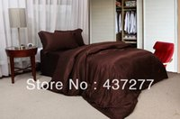 Wholesale Bedspread Silk - dignified dark coffee striped bediding sets for full queen imitated silk quilt cover bedspread coverlets bed linen comforter set
