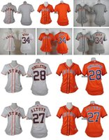 Wholesale Women Blank Tops - Women Houston Astros #34 ryan #28 singleton #27 altuve Blank Orange Grey white Cool Base baseball Jerseys Drop Shipping Top Quality Shirt