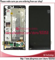 Wholesale Huawei P6 Free Shipping - Wholesale-LCD Screen with Touch Screen Digitizer with Frame for Huawei Ascend P6 Black white color free shipping