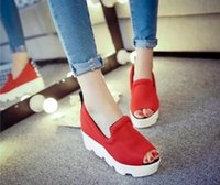 Wholesale Thick Black Wedges For Women - new 2015 Summer South Korea increased platform sandal wedges thick bottom lady fashion shoes for women's shoes Waterproof Casual High Heels