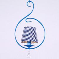 lumières méditerranéennes achat en gros de-Pastorale Fer Bleu Salle À Manger Suspension De La Méditerranée Allée Pendentif Couloir Suspensions Cuisine Balcon Suspension Lumière