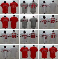 Wholesale Drop Shi - Men's #27 Mike Trout #29 Rod Carew 44 Jackson Blank 2016 Flexbase Authentic jerseys White Grey Red Top Quality Baseball jersey Drop Shi