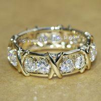 gelber topas goldring großhandel-Vecalon Marke Schmuck Engagement Ehering Ring für Frauen 3mm Topaz Simulierter Diamant Cz 10KT Gelbes Gold füllte weiblichen Ring