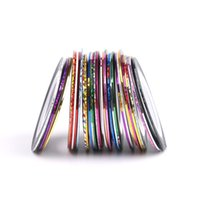 Wholesale Multi Colors Nail Art - Rolls Striping Tape Line Nail Art Sticker Decoration DIY Decals UV Gel Acrylic Nail Tips Multi Colors Nail Art Nail Patterns 30 Colors