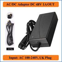 ac dc netzadapter 48v großhandel-48V 1A AC DC Adapter UK Stecker AC 100-240V Konverter Adapter zu DC 48V 1A 48W LED Netzteil Ladegerät für LED Lichtleiste
