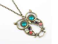 Wholesale Eyes Fashion Sweater - Fashion Jewelry Necklaces Diamond OWL Sweater Necklaces Pendants Statement Metal Crystal Lovely Big Eyes Necklaces Free DHL E697L