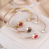 Wholesale Green Stone Prices - Brand name Brass matrial Best price Bangle in 5.6*46cm for women wedding gift Jewelry red and green stone free shipping PS5224A