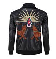 Wholesale Mens Pilot Jacket Fur - New Fashion Design Embroidery Unisex Bomber Jacket Medusa 2017 Mens coat PU men Leather Motorcycle Pilot Jackets fur clothing M--3XL 111726#