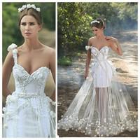 robes de mariée une sangle achat en gros de-Robes de mariée à un bracelet de conception unique perlé