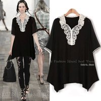 Wholesale Dress Blouse Neck - FREE SHIPPING 2017 women lace shirts Plus size XL 2XL 3XL 4XL 5XL blouse clothing dress oversized summer long chiffon shirt tops elegant