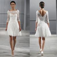 Wholesale Black Monique - Illusion Bateau Neck 3 4 Sleeves Monique Lhuillier Spring 2017 Short Wedding Dresses Knee length Beach Backless Wedding Dress Little White