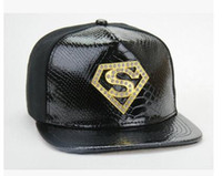 Wholesale Superman Hat Fitted - Mens Baseball Hat Leather Hats Brand Flat Hip Hops Caps Snapbacks with Gold Metal Diamonds Logo Hip Hop S Letters Fitted Superman Snapback