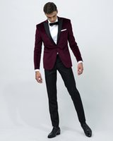 Wholesale Mens Made Measure Suits - 2016 Burgundy Velvet Groom Tuxedos Peak lapel groommens suits Made to measure wedding suits for mens (jakcet+Pants+tie+pocketsquare)
