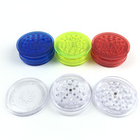 Wholesale Clear Plastic Pieces - 60mm 3 piece colorful plastic herb grinder for smoking tobacco spice grinders with green red blue clear