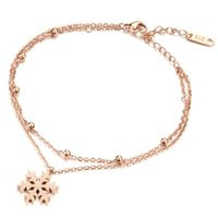 Wholesale Cross Christmas Ornaments Wholesale - Titanium steel girls foot chain anklets double snowflake Christmas ornaments cute lightweight GZ019