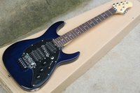 Wholesale Hsh Pickguard - Factory custom ash body 22 frets dark blue floyd rose electric guitar with black pickguard,HSH pickups,can be customized