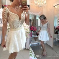 Wholesale Pearls Cocktail Dresses - 2018 New Short Homecoming Dresses Lace Beading Deep V Neck Above Knee Pearls Cheap Illusion Back Lace up Prom Party Cocktail Dress