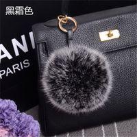 Wholesale Large Black White Photos - Hot Burgundy Large Real Fox Fur Pom Pom key Rings Ball Car Keychain for men Handbag Purse Charm Pendant Accessory 10pcs lot 10cm