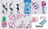 Wholesale Ladies Wallets Butterflies - Wallet Leather For Iphone 7 7Plus Plus Flower Blossom Case Butterfly Doughnut Photo Card+pineapple Lady Flip Cover pouch
