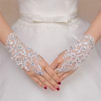 ingrosso guanti bianchi-2016 perline di pizzo bianco senza dita guanti da sposa corti accessori da sposa filato netto breve paragrafo trapano luminoso decorazioni di nozze
