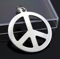 Wholesale Wholesale Peace Jewelry - Fashion necklaces Peace Anti War Pendant 316L Stainless Steel necklace pendant Drop Charm women men jewelry