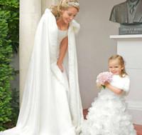 Wholesale White Cape Fur Trim - 2017 Fall Winter White Wedding Cloak Cape Hooded with Fur Trim Long Bridal Jacket 2017 Custom Bridal Accessories
