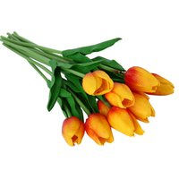 Wholesale Wall Decorations Tulips - 30pcs PU Fake Artificial Silk Tulips Flores Artificiales Bouquets Party Artificial Flowers For Home Wedding Decoration