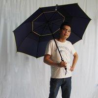 Wholesale Black Rain Umbrella Man - Men Umbrella Rain Windproof Large Paraguas Adults Sun Dual-Floding Diameter 120cm 2-Layer Big Business Umbrella Black Red Blue