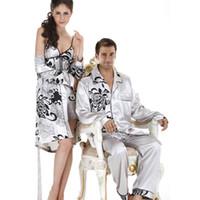 Wholesale Couple Pajamas Set - Wholesale-Elegant Mens Satin Pyjamas Long-sleeved Pajamas Couple Pijama Men's Satin Pajamas Sets Mens Silk Pyjamas Sleepwear Home