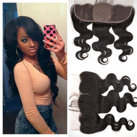 Wholesale Silk Base Closure Body Wave - Silk Base Lace Frontal Closure 13x4 from ear to ear brazilian virgin human hair body wave natural black silk lace frontal closure G-EASY