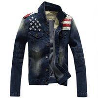Wholesale Mens Denim American Flag Jacket - Wholesale- Men American Flag Denim Jacket PU Leather Patchwork Design Mens Stars Embroidery Jean Jackets Male Denim Coat Zippered Cuffs