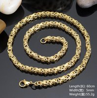 Wholesale 24 Solid Gold Chains - Good Quality Charming 5mm 24'' Gold 316l Stainless Steel Women Men's New Solid Byzantine Link-chain Necklace Jewelry