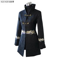 Wholesale Chinese Traditional Jacket Women - Wholesale- Black Traditional Winter Chinese Women's Cotton Long Jacket Coat Outerwear Size S M L XL XXL XXXL 4XL Free Shipping 2255-2