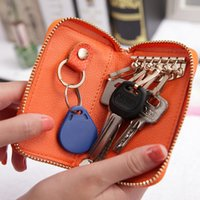 Wholesale Car Key Card Case - hot sale high qualtiy multi-function zipper genuine leather car key holder fashion split men key bag case wallet