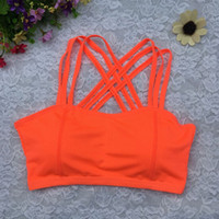 Wholesale Wholesale Chest Vest - Wholesale-Cropped Feminino Women Crop Top Padded Bra Tank Women Lady Sports Athletic Solid Wrap Chest Strap Vest Tops BraFree