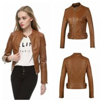 Wholesale Hot Black Leather Jackets Women - Hot Sale 2016 New Spring Fashion Women Motorcycle Faux Soft Leather Jackets Female Winter Autumn Brown Black Coat Outwear