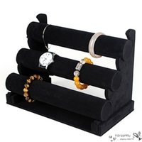 Wholesale Display Jewellery Bracelets Watches - New Black Velvet 3 Tier Bangle Bracelet Chain Watch Jewellery Display Stand Tray Assembled Organizer Hard Case Holder