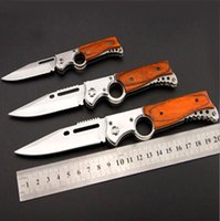 Wholesale Automatic Fish - New AK47 RIFLE Gun Shaped Automatic Tactical Folding Knife Hunting Camping Outdoors Survival Tool 440 Blade Pakka Wood Handle With LED Light