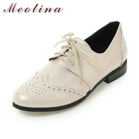 Wholesale Size 12 Fashion Wedges Women - Wholesale- Meotina Women Oxfords Flats Shoes Lace Up Pointed Toe Brand Fashion Causal Brogue Shoes Women Beige Black Large Size 11 12 45 46