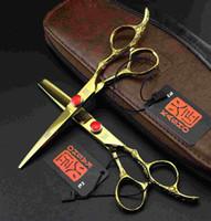 Wholesale Imported Scissor - 6 inch purple Kasho dragons handle import carpenter hairdressing scissors barber scissors flat cut teeth cut