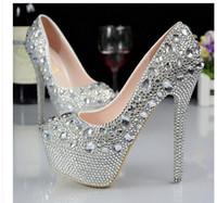 elmas gümüş balo ayakkabıları toptan satış-Gümüş Özel artı boyutu düğün ayakkabı kristaller rhinestones gelin düğün Ayakkabı Pompaları Elmas kadın Ayakkabı Parti Balo Yüksek Topuklu ayakkabı