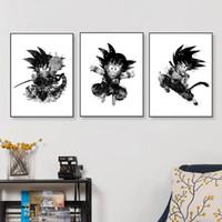 arte japonesa da lona venda por atacado-3 Peças Moderna Aquarela Anime Japonês Dragon Ball Canvas Art Print Poster Goku Retrato Da Parede Home Decor Pinturas Sem Moldura
