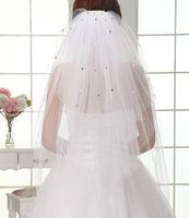 Wholesale Net Voile Lace - Newest In Stock Short Bridal Veils Muti-Layers Rhinestones Cut Edge Wedding Veils Voile De Mariee Lace Head Veils Bridal Accessories