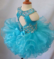 Wholesale Glitz Pageant Knee Length - Blue jewel crystal backless sleeveless bow organza flower girls beads cupcake pageant dresses kids toddler glitz prom Infant ball gowns