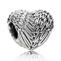 Wholesale loose beads for sale - European Silver Plated Big Hole Charms Spacer Loose Beads Fit Pandora Bracelets 925 Jewelry Wings of an Angel for Sale Girls Mom Heart Shape