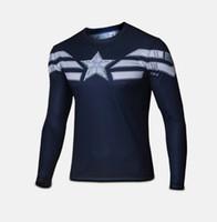 Wholesale Lycra Full Sleeve T Shirt - Men Long Sleeve T-shirt Superhero Avenger quick dry Compression Sport Bike Cycling Tee free shipping