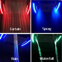 Wholesale Color Changing Overhead Shower - luxury 420*710mm multi function big overhead shower led color change stainless steel rain head electric faucet