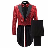 Red Sequins 2017 New Design Long Tuxedo Jacke Slim Männer Anzug Set Hosen Herren Anzüge Abend Bühne Formal Dress Suit + Pant + Tie
