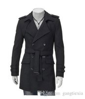 Wholesale New Trench Coat Men Solid Color Long Trench Coat Mens Trench Coat Slim fit trench Double Breasted Overcoat Colors