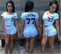 Wholesale Digital Printed Satin - free shipping Europe and the United States women's wear vertical stripes digital printing baseball sport suit white S-L